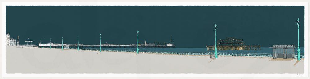 print named Hove Lawns, Two Piers Emerald Skies by artist alej ez