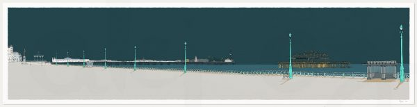 print named Hove Lawns, Two Piers Emerald Skies by artist alej ez