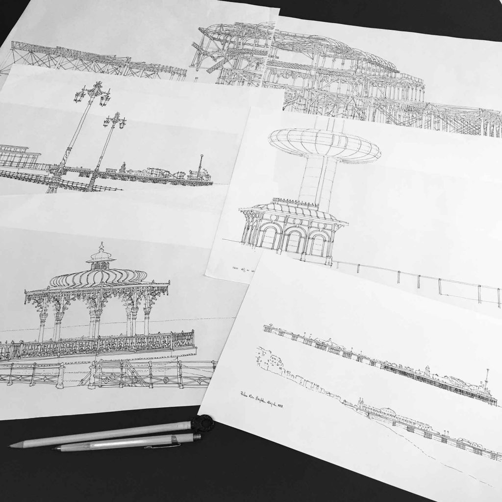 base drawings for print I360 Palace Pier Bandstand and West Pier Pebble Beach by artist alej ez