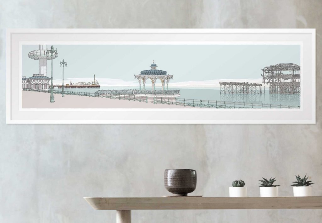 room with print I360, Palace Pier, The Bandstand and The West Pier Pebble Beach