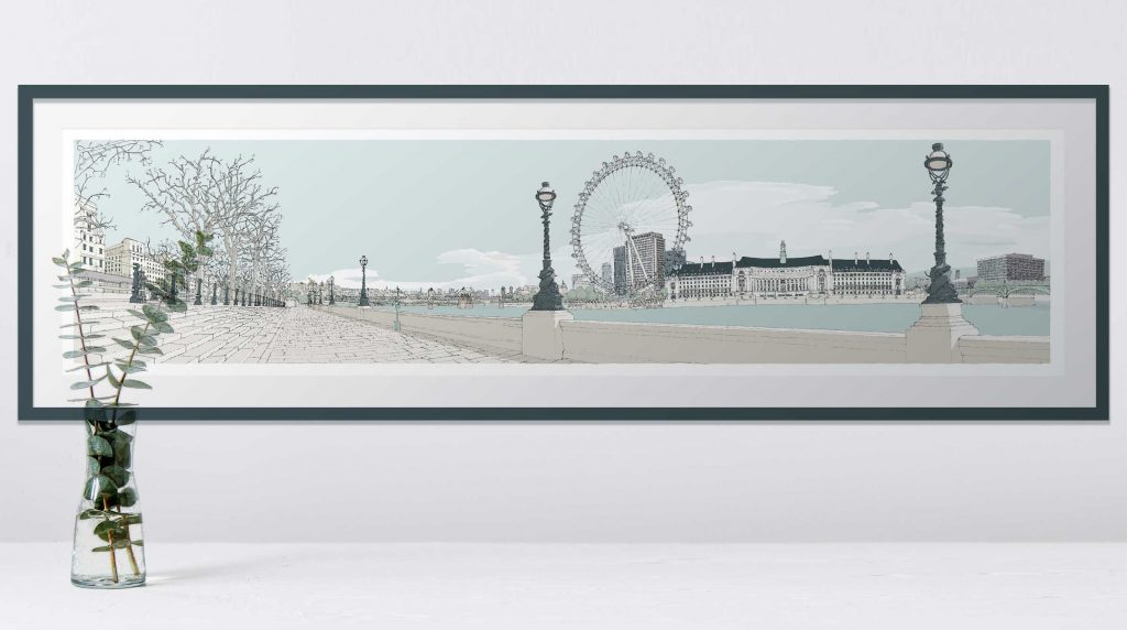 room with print London River Thames by Westminster Bridge Pebble Beach