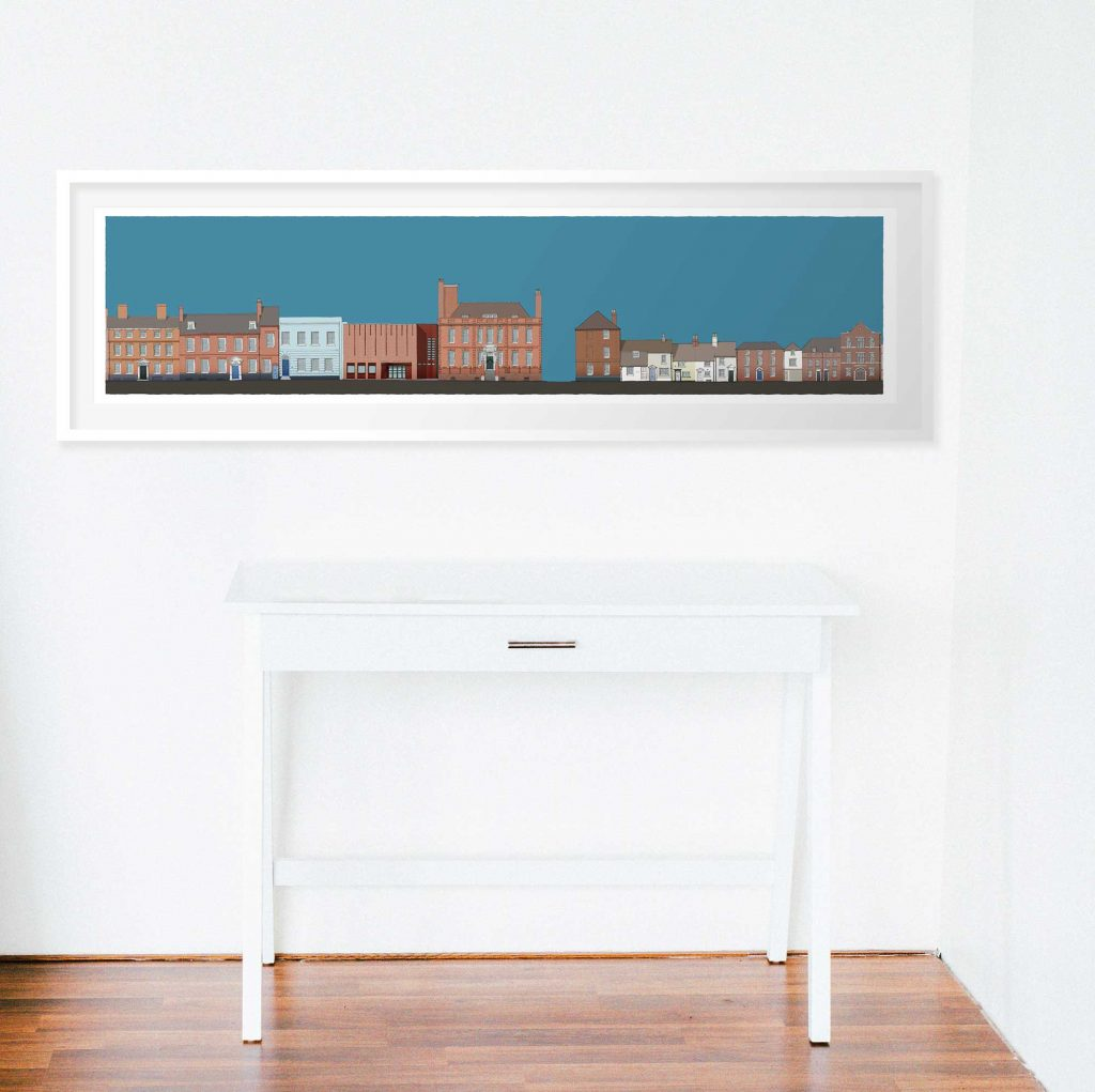 room with Panoramic print named Pallant House Gallery North South, architectural print by artist alej ez