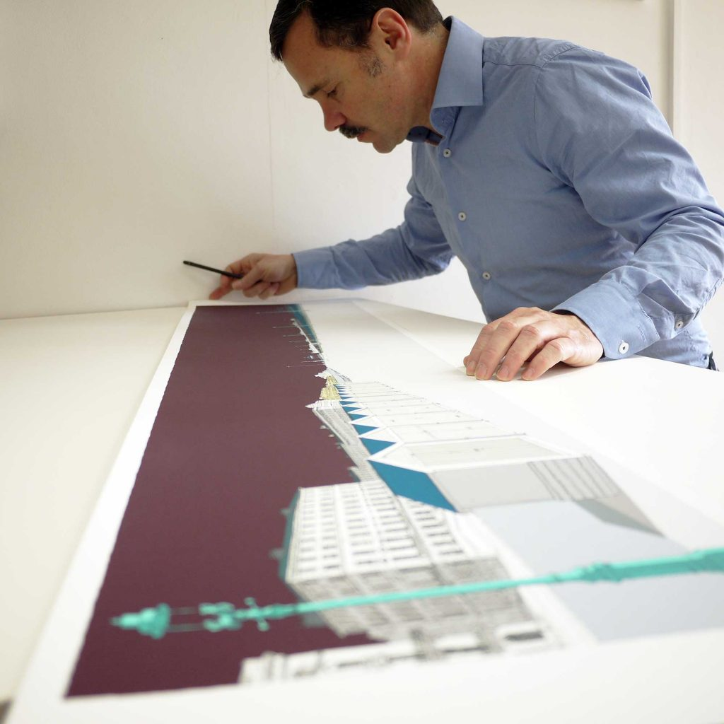 inspection of panoramic print Palmeira Brunswick and the Two Piers Mauve Sky by artist alej ez