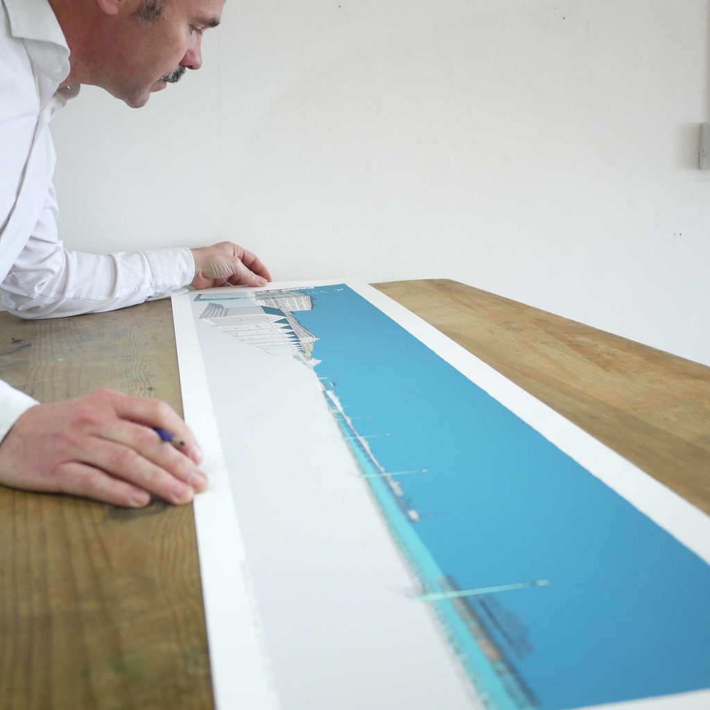 Adelaide, Beach Huts, Brunswick and the Two Piers Ocean Blue fine art print inspection by artist alej ez