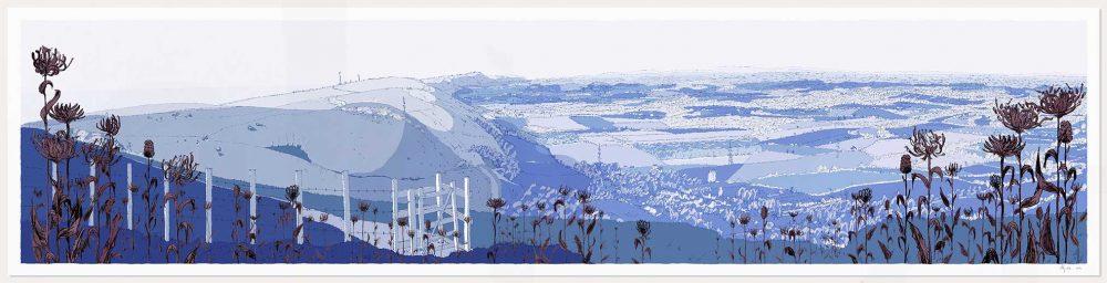 print named Devils Dyke Round Headed Rampion Pride of Sussex Winter by artist alej ez