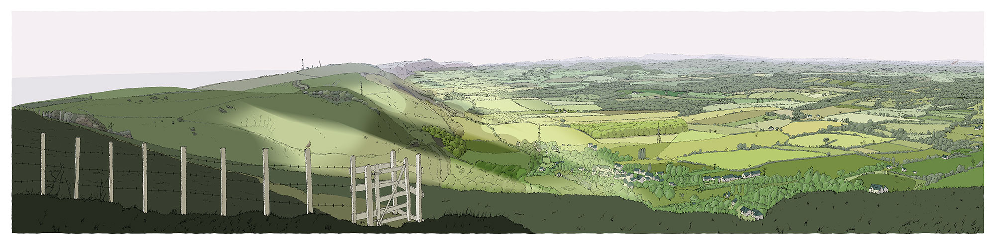 Panoramic print named The Lark over the Sussex Weald from Devils Dyke