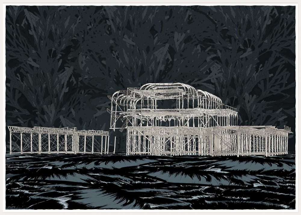 print named Brighton West Pier Night Sea by artist alej ez