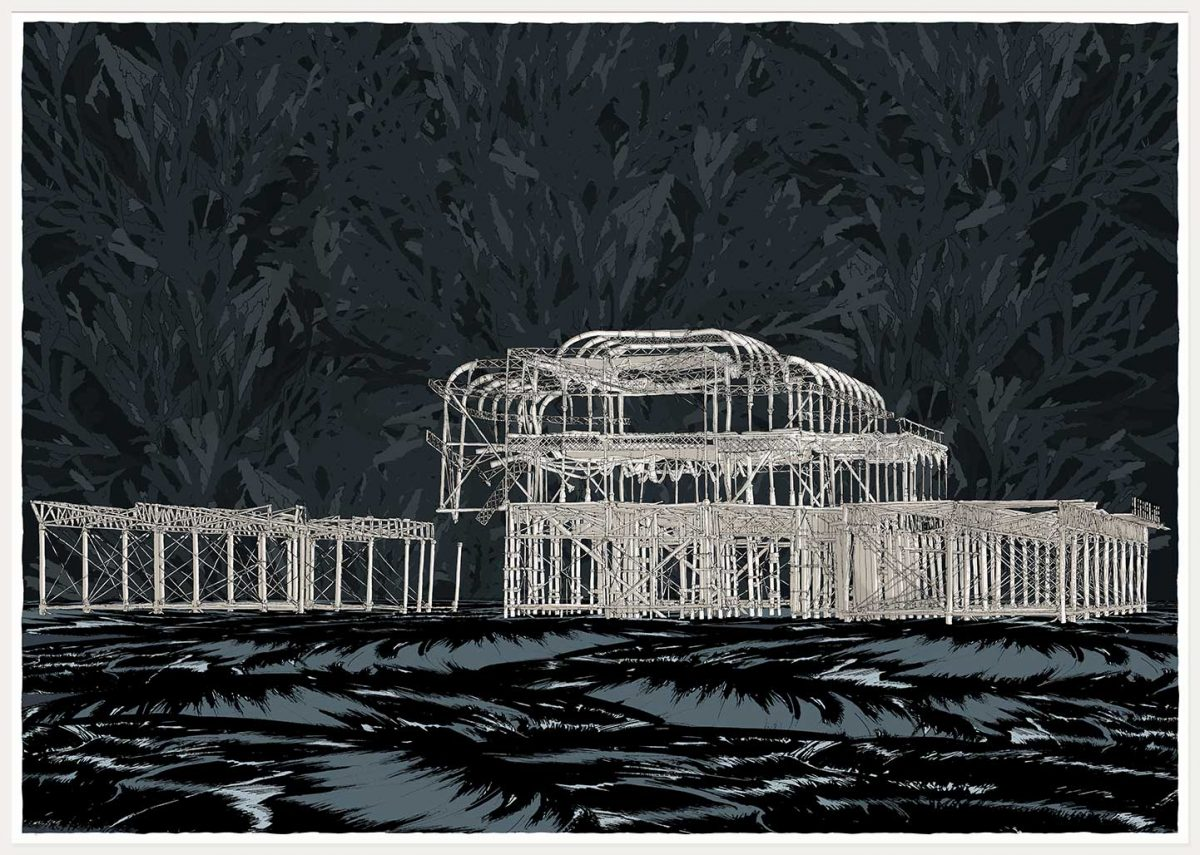 print named West Pier Night Sea by artist alej ez