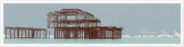 print named West Pier Rampion Wind Farm Rusted Irons by artist alej ez