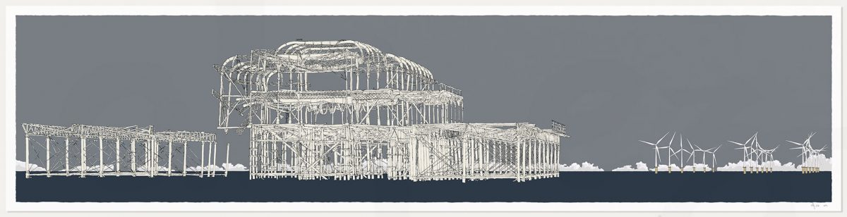 print named West Pier Rampion Wind Farm Silver Grey by artist alej ez