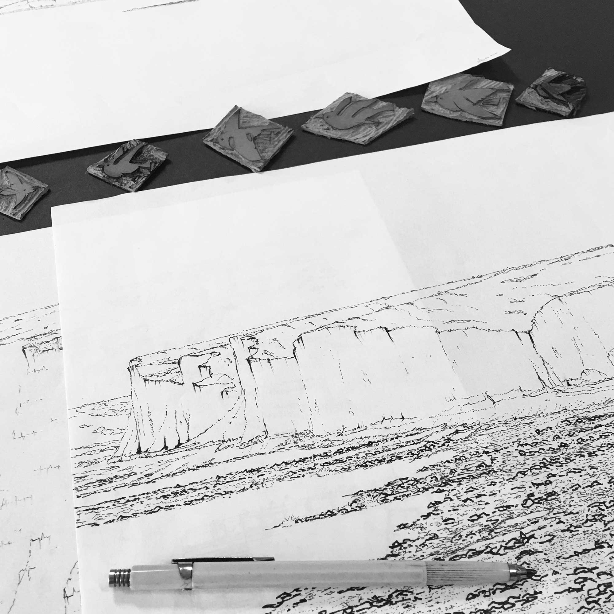 lino cuts and base ink drawing for panoramic print named Birling Gap Starling Murmuration Eventide by artist alej ez