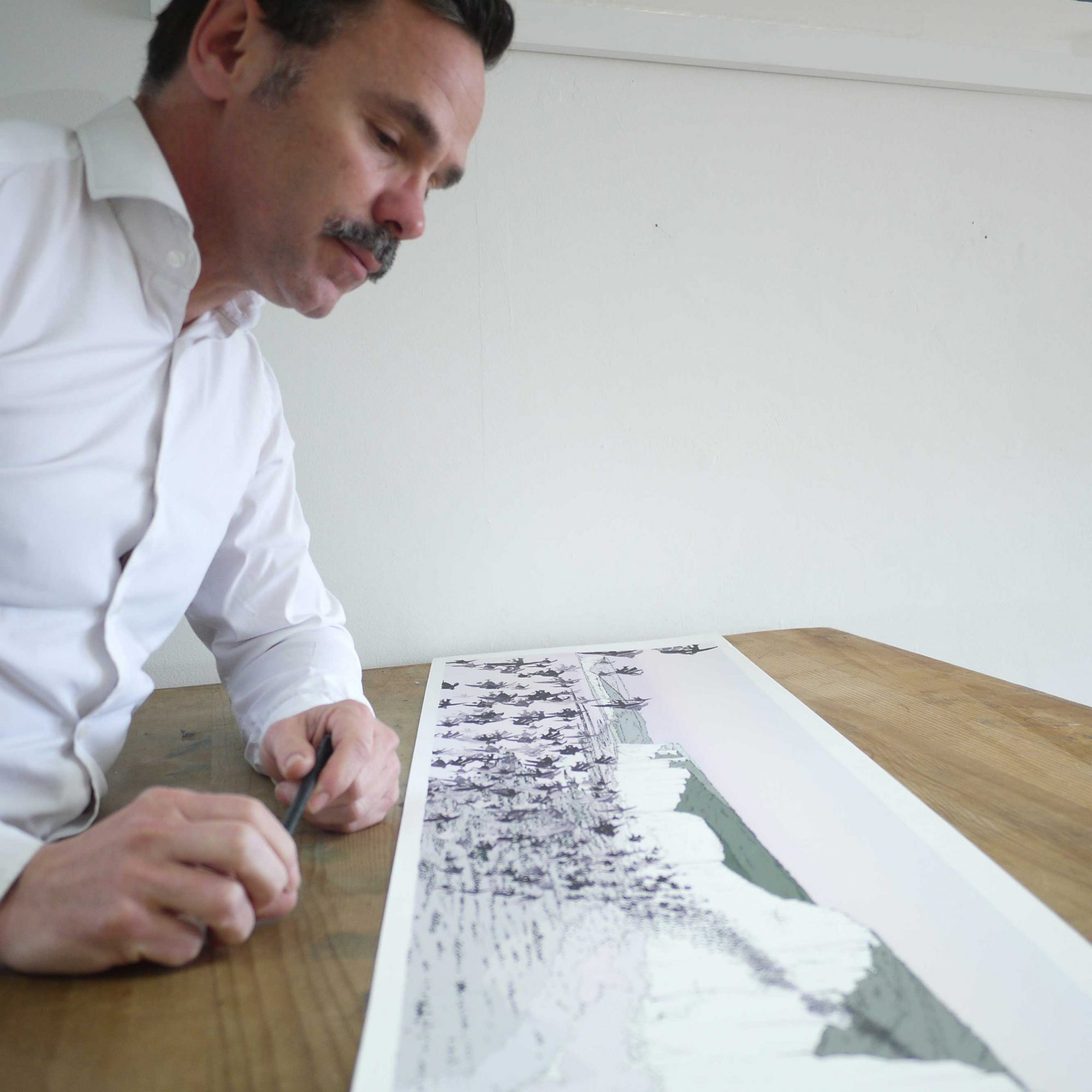 inspection of panoramic print named Birling Gap Starling Murmuration Eventide by artist alej ez