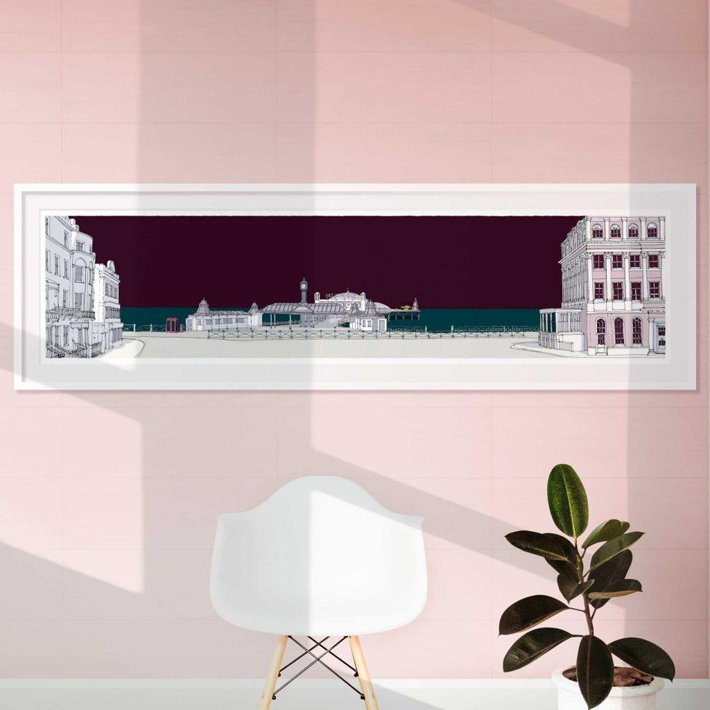 Room with Panoramic print called Brighton City Pier Mauve Sky by artist alej ez