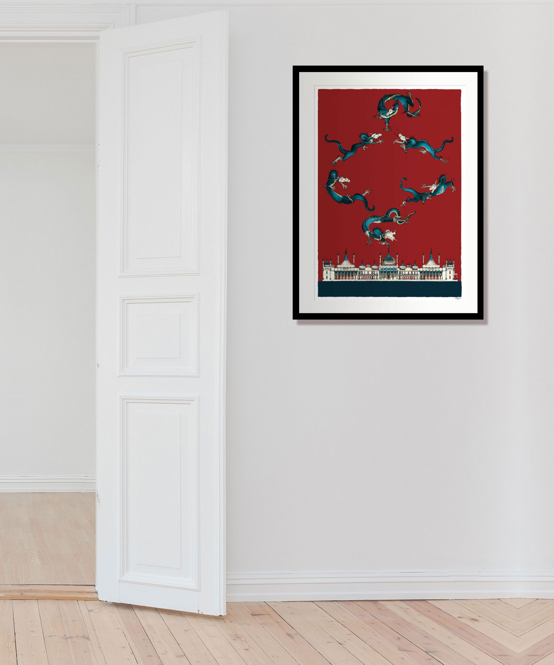room with print named Chinoiseriez by artist alej ez deptics dragons flying over the Royal Pavilion in Brighton with a red sky