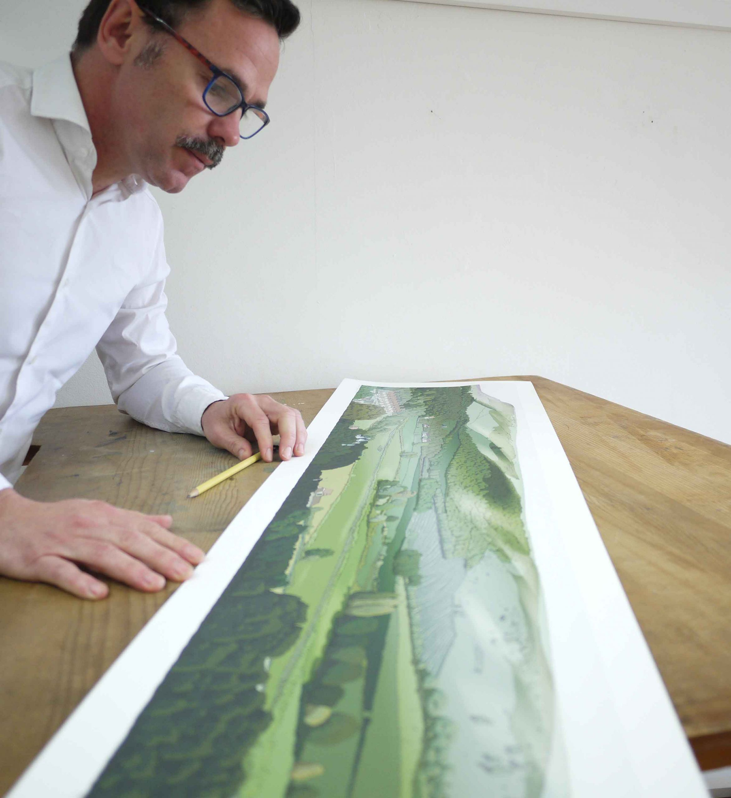inspection of panoramic print named Firle from Glynde by artist alej ez