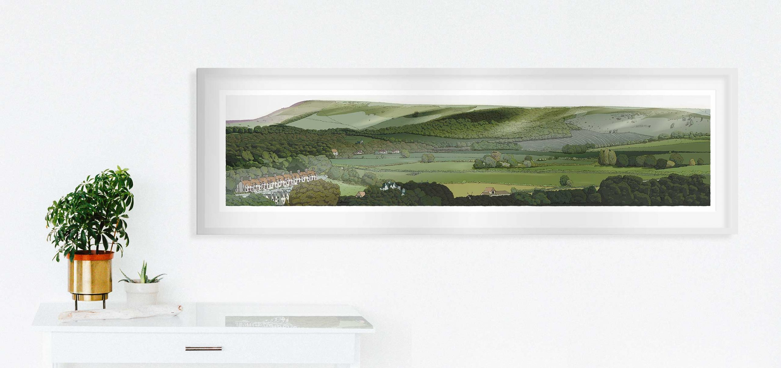room with panoramic print named Firle from Glynde by artist alej ez