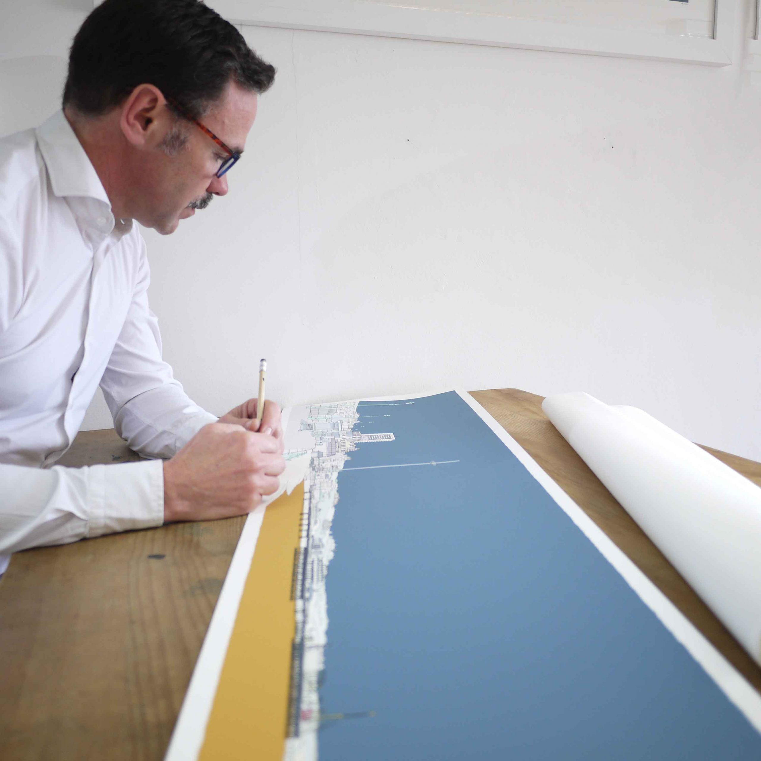 inspection of panoramic print named Hove Brighton Promenade Antique Blue and Ochre by artist alej ez