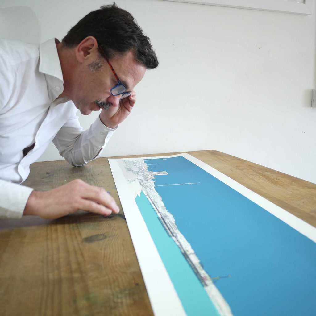 inspection of panoramic print named Hove Brighton Promenade Ocean Blue by artist alej ez