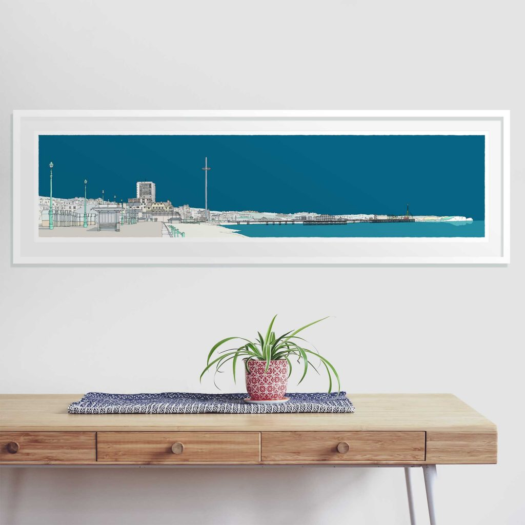 room with panoramic print named Hove Brighton Promenade Ocean Blue by artist alej ez