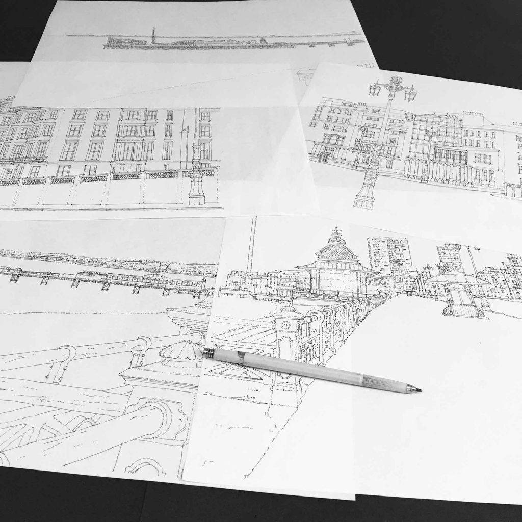 base ink drawings for panoramic print named Kemptown Brighton Promenade Ocean Blue by artist alej ez