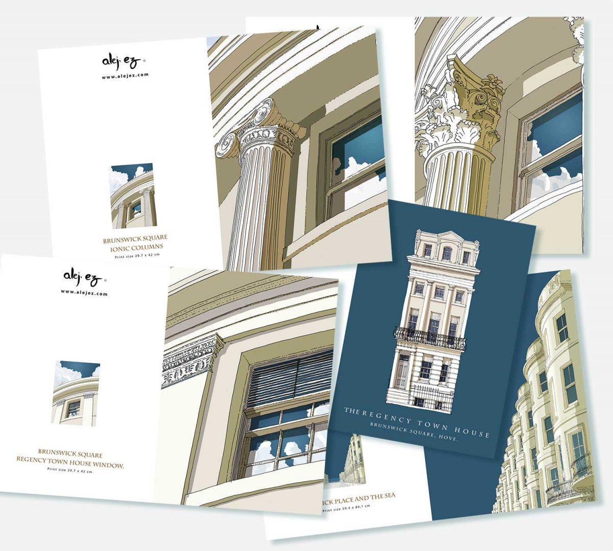 Set depicting Brunswick Square Hove by artist alej ez