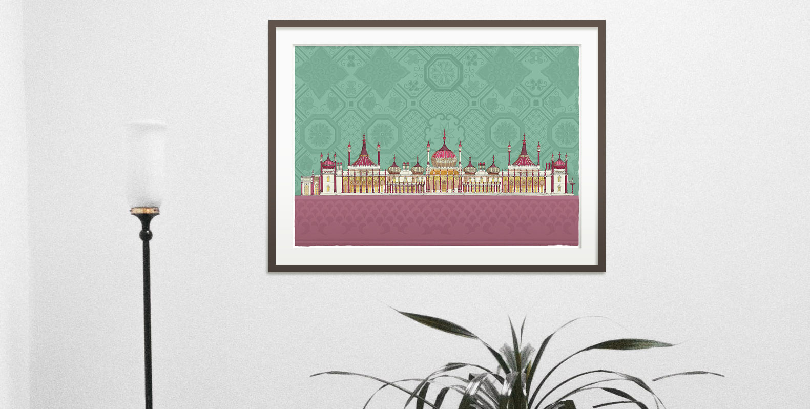 room with print named Brighton Royal Pavilion Life by artist alej ez