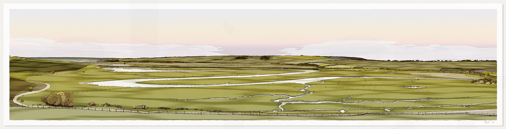 print named Cuckmere Haven Valley Eventide by artist alej ez