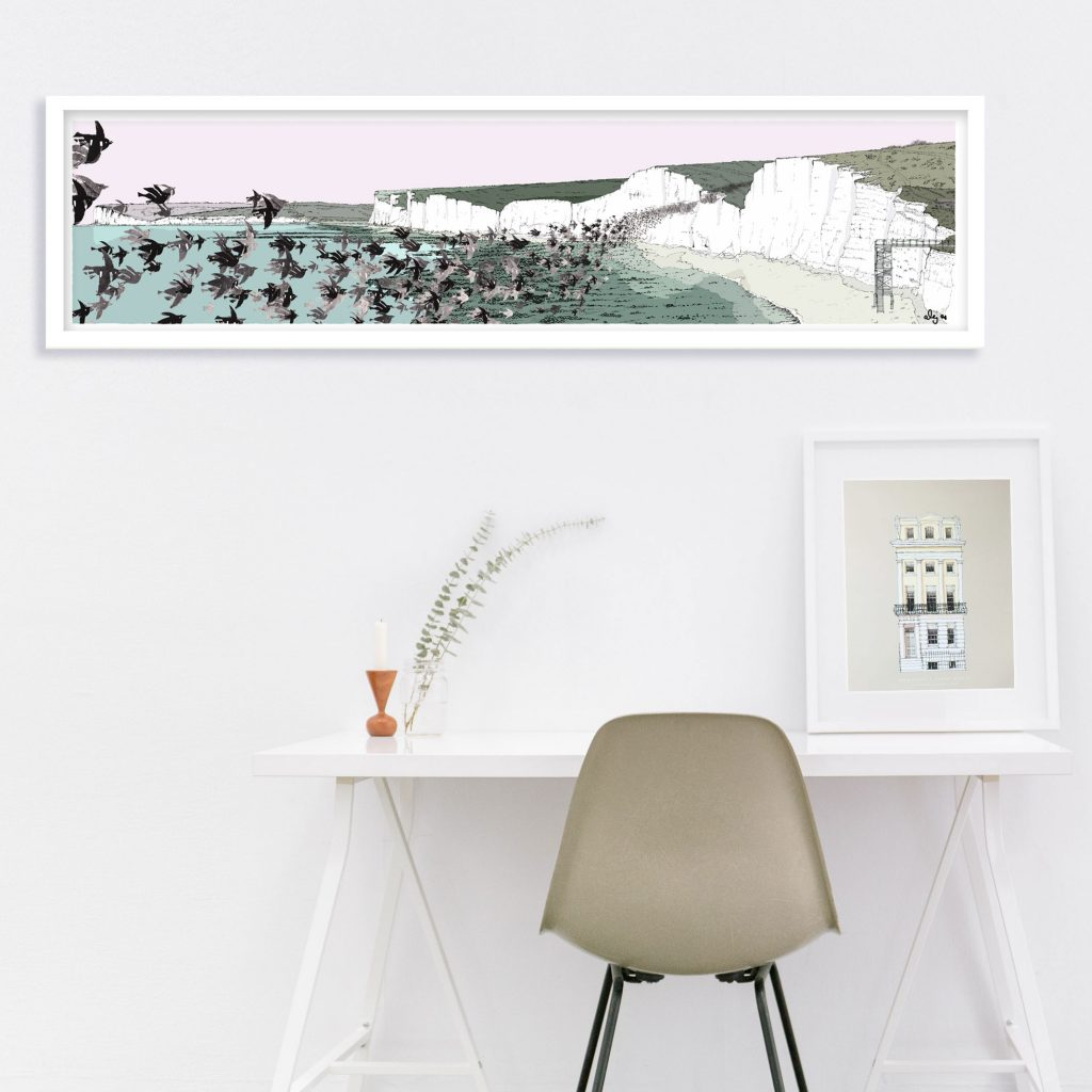 room with Panoramic print named Birling Gap Starling Murmuration by artist alej ez showing a range of chalk cliffs and flying flock of birds