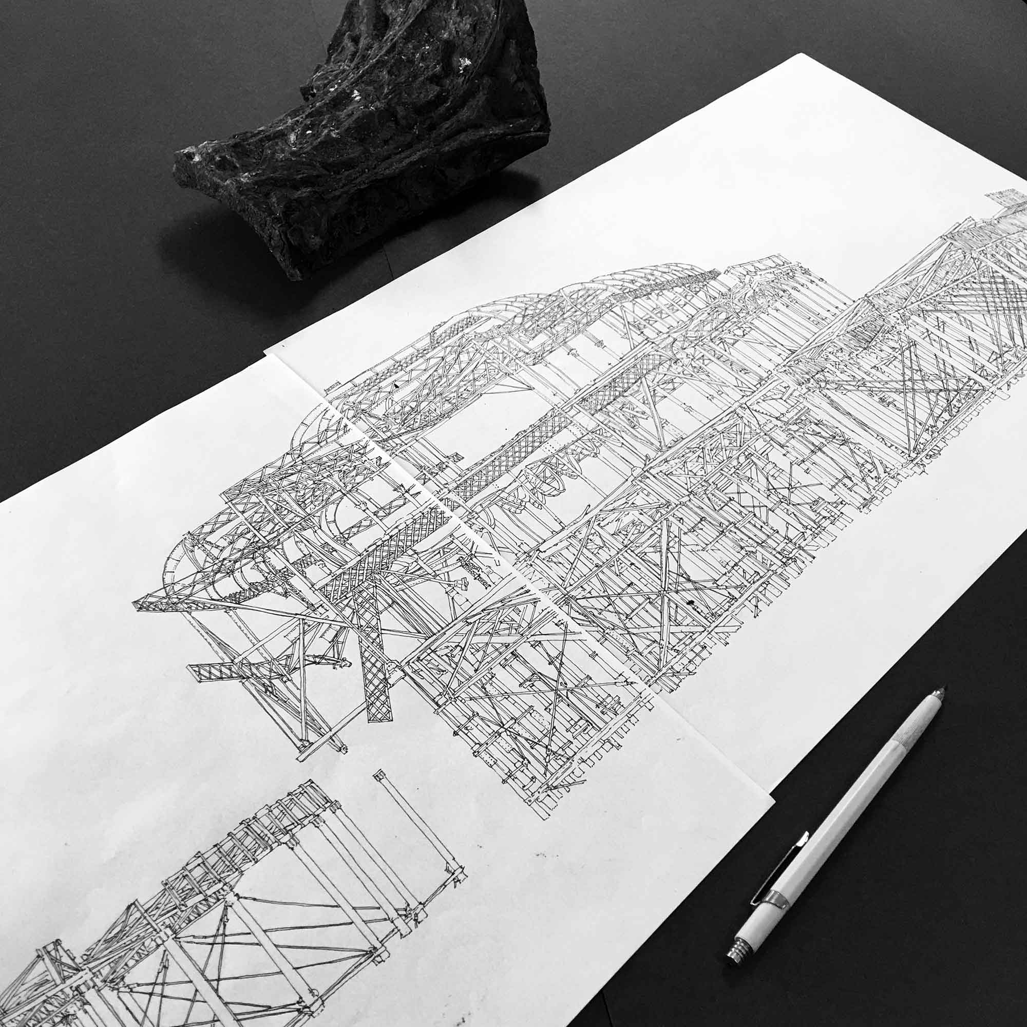 base ink drawing for panoramic print named West Pier Rampion Wind Farm Eventide by artist alej ez