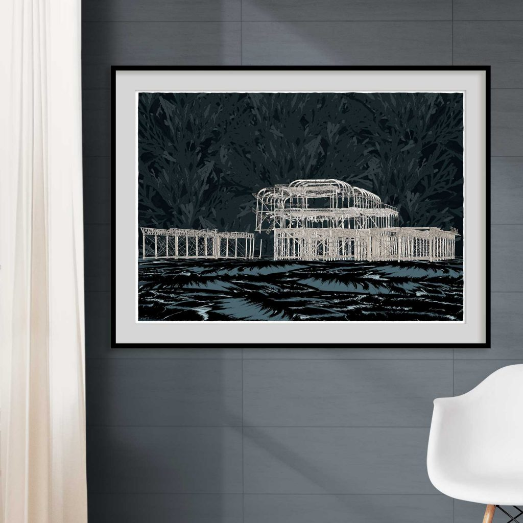room with print named West Pier Night Sea by artist alej ez