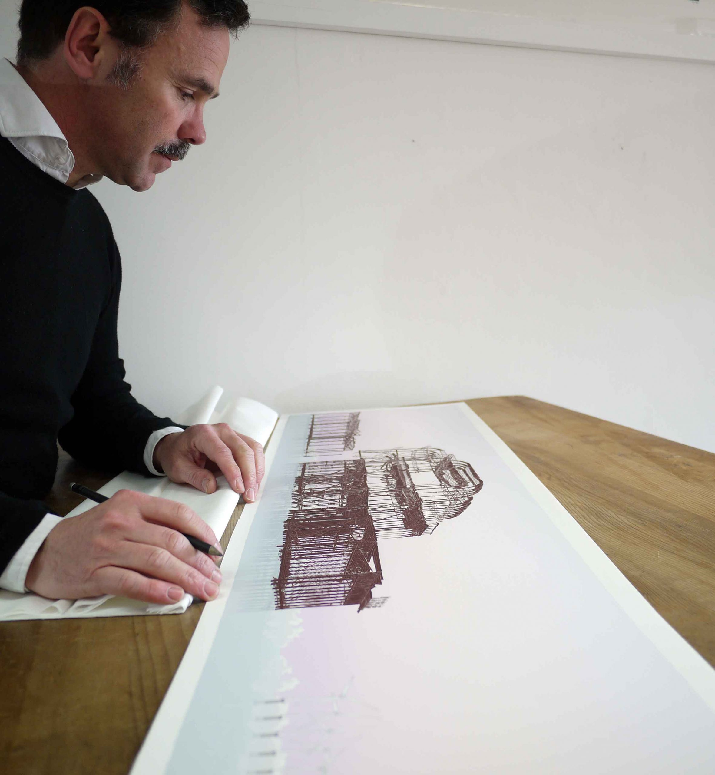 inspection of panoramic print named West Pier Rampion Wind Farm Eventide by artist alej ez
