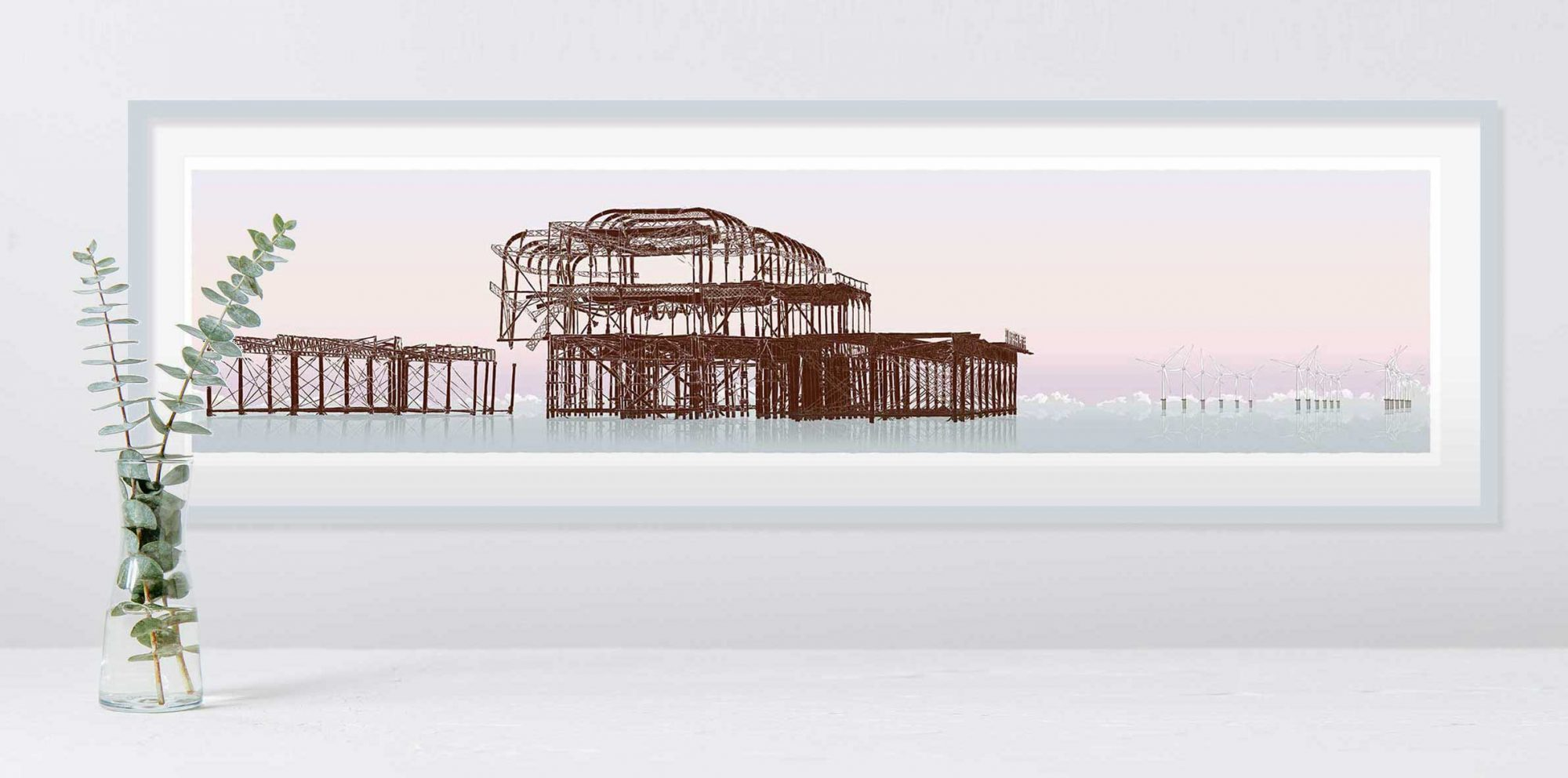 room with panoramic print named West Pier Rampion Wind Farm Eventide by artist alej ez