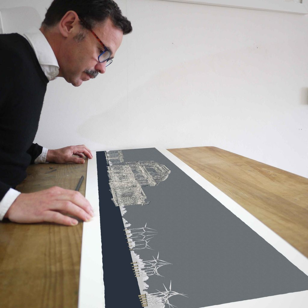 inspection of panoramic print named West Pier Rampion Wind Farm Silver Grey by artist alej ez