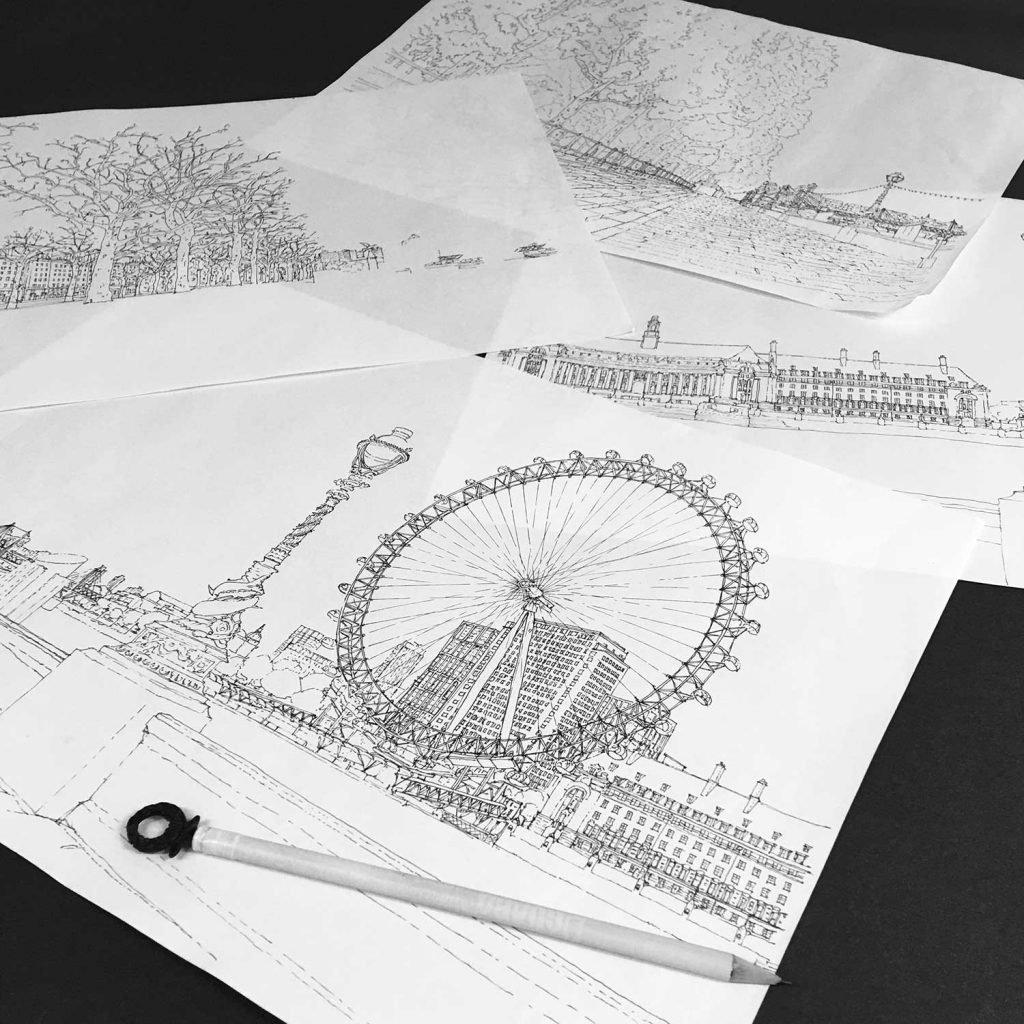 base ink drawing for panoramic print named London River Thames by Westminster Bridge Pebble Beach by artist alej ez