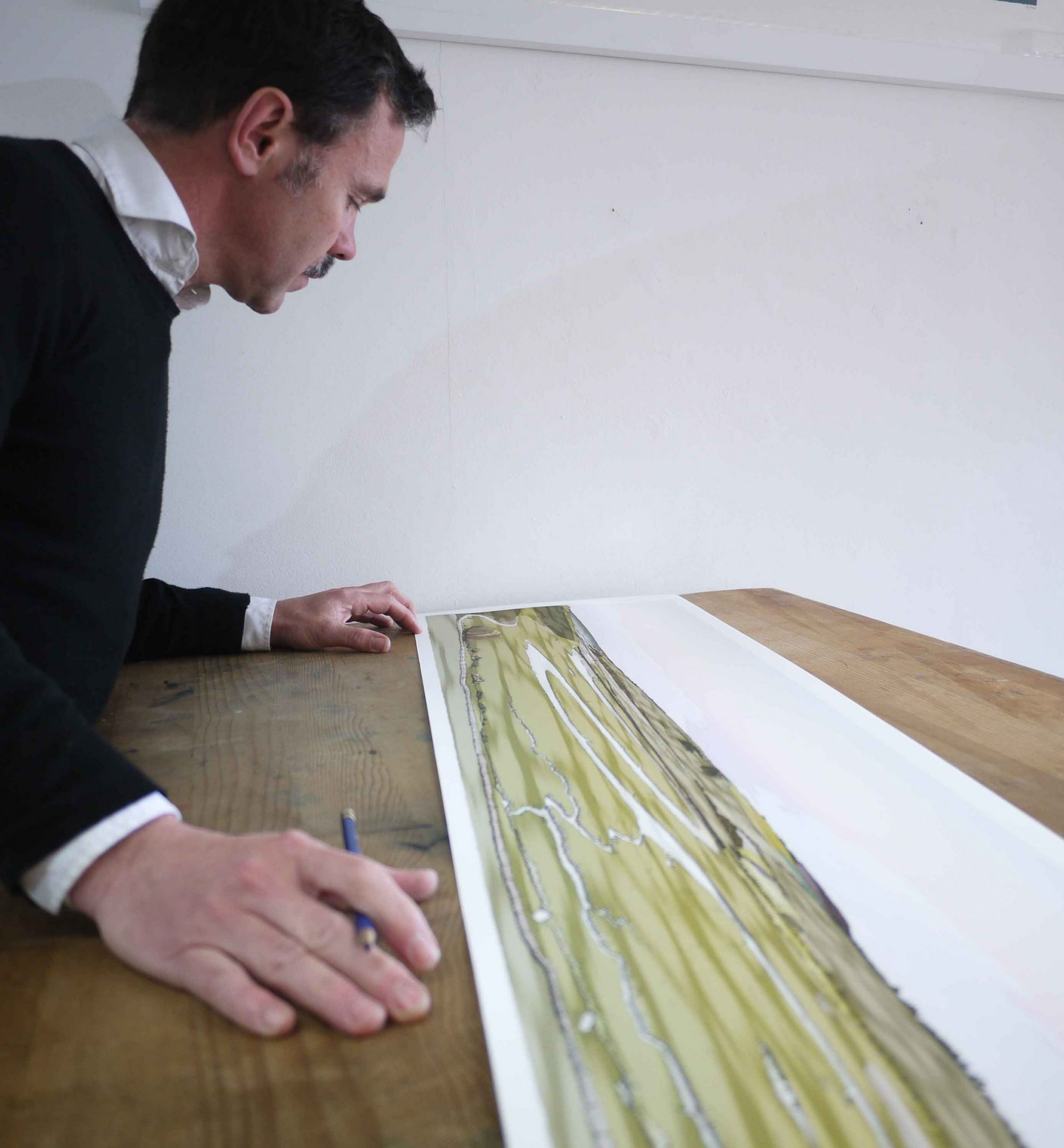inspection of panoramic print named Cuckmere Haven Valley Eventide by artist alej ez