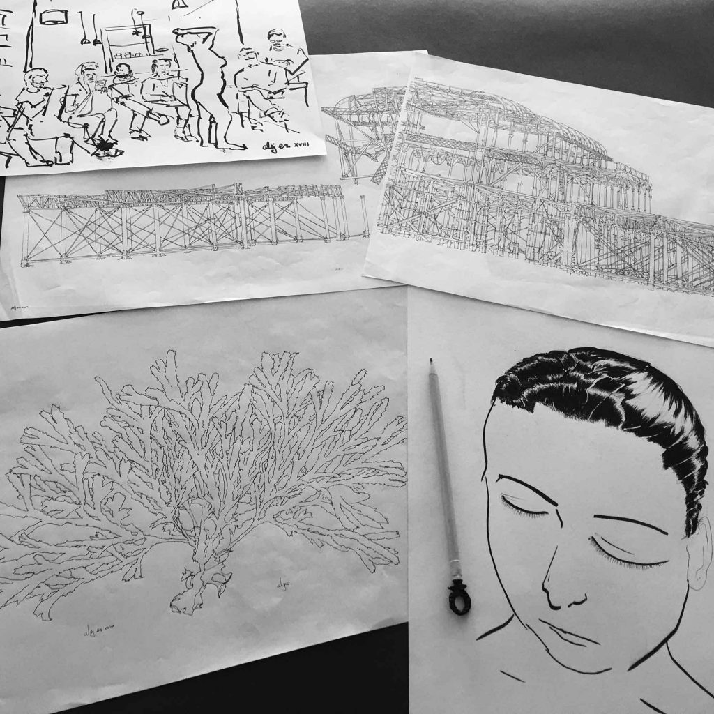 base drawings for print named West Pier Night Sea by artist alej ez