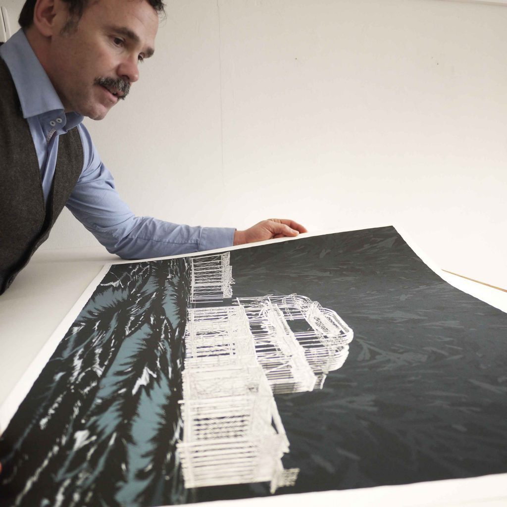 inspection of print named West Pier Night Sea by artist alej ez