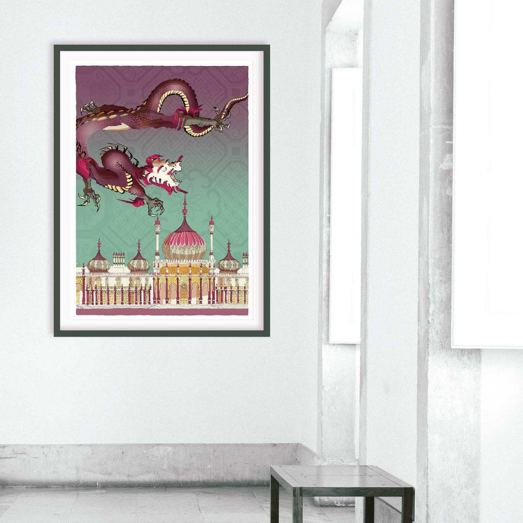 room with print named Chinoiseriez Life Joy by artist alej ez