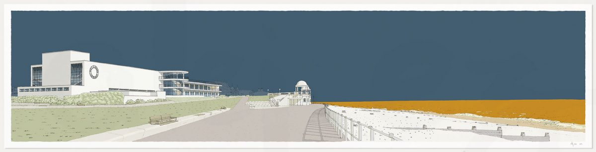 print named De la Warr Pavilion Bexhill on Sea Antique Blue and Ochre by alej ez