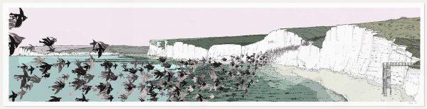 print named Birling Gap Starling Murmuration by artist alej ez