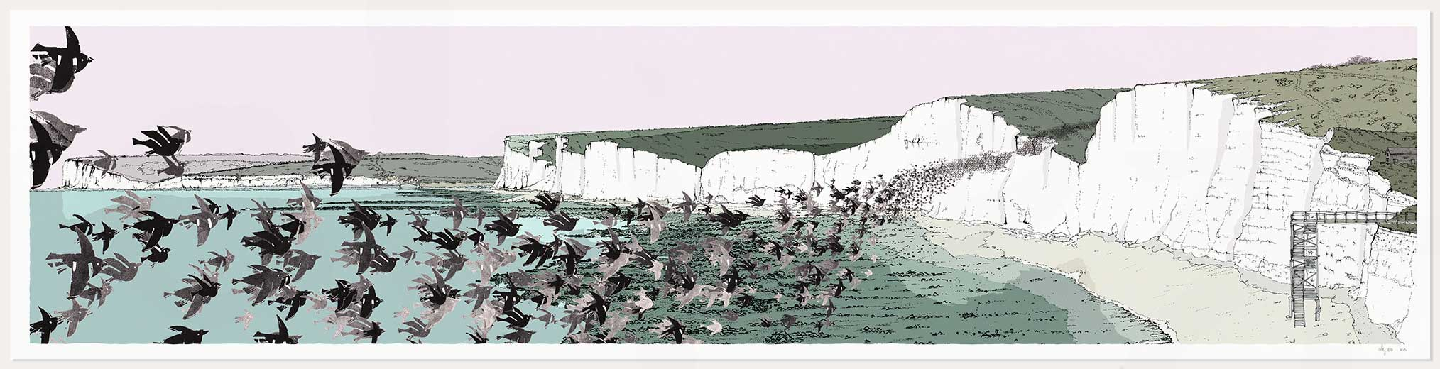 print named Birling Gap Starling Murmuration by artist alej ez