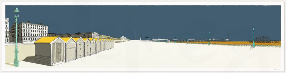 print named Palmeira Brunswick and the Two Piers Antique Blue and Ochre by artist alej ez