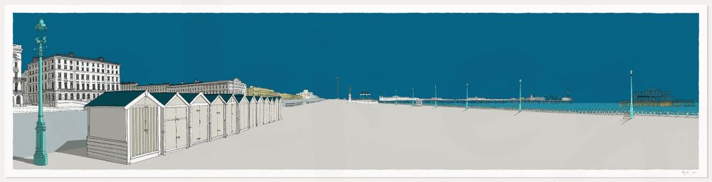 print named Palmeira Brunswick and the Two Piers Ocean Blue by artist alej ez