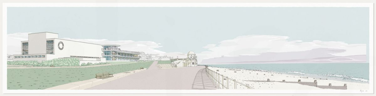 print named De la Warr Pavilion Bexhill on Sea Pebble Beach by artist alej ez