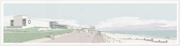 print named De la Warr Pavilion Bexhill on Sea Pebble Beach by artist alej ez