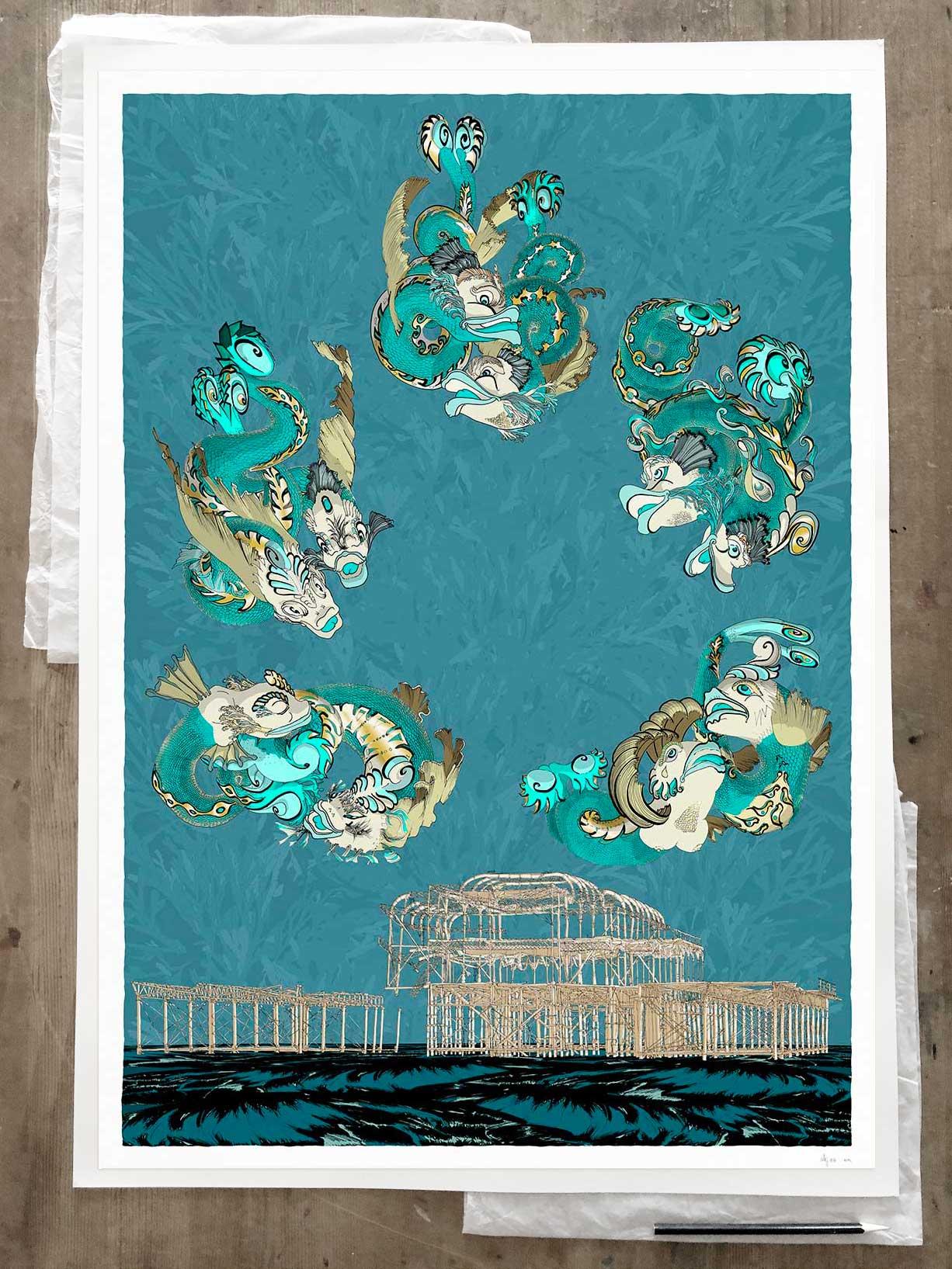 Fine art print by artist alej ez titled Dolphins of Brighton West Pier