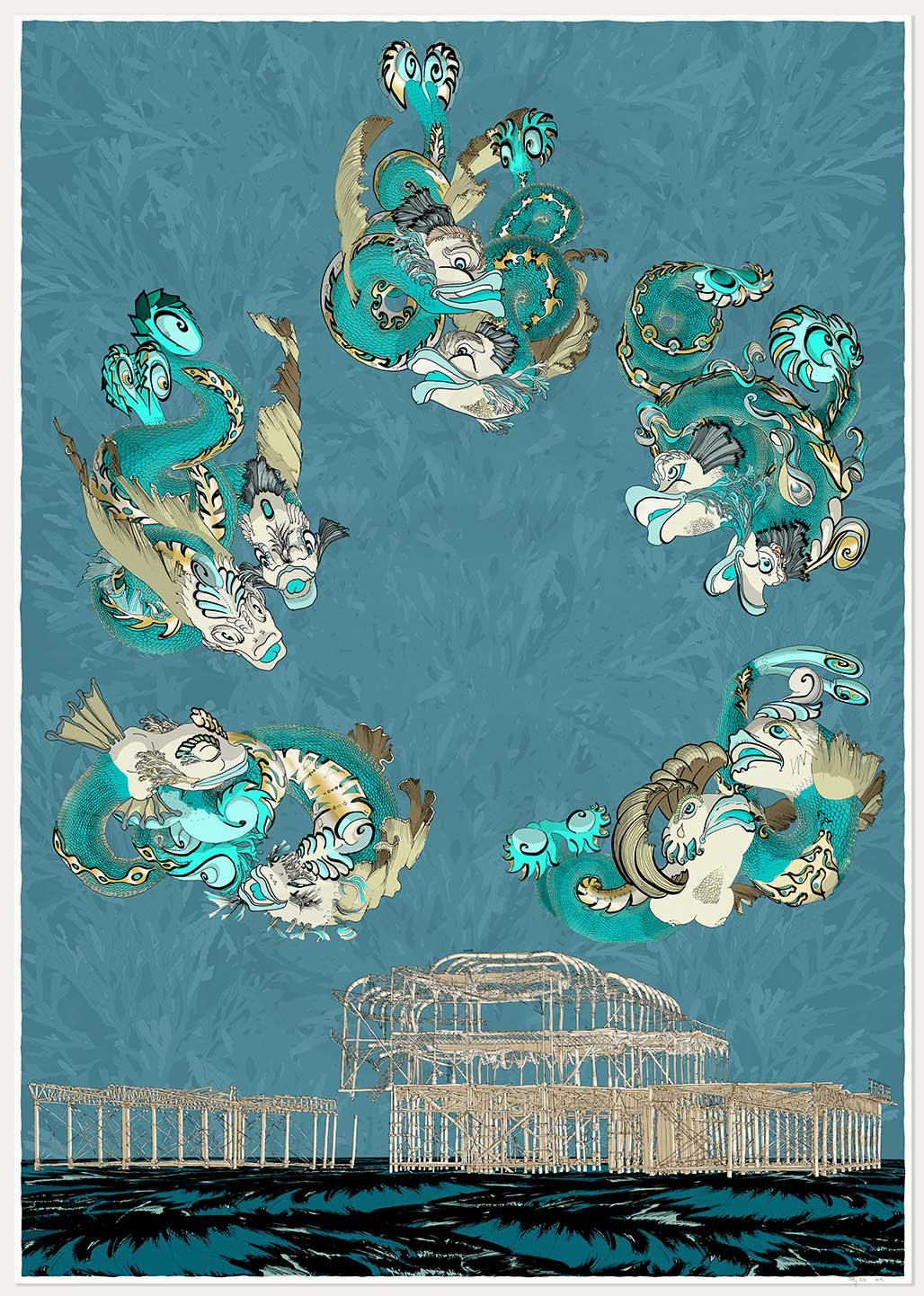 print named Dolphins of Brighton West Pier by artist alej ez