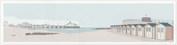 print named Eastbourne Pier and Huts Pebble Beach by artist alej ez