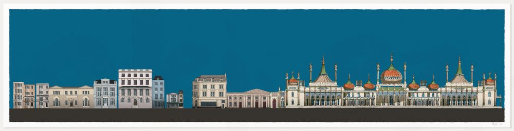 print named Hers and His Fitzherbert and George IV Brighton Pavilion Ocean Blue by artist alej ez