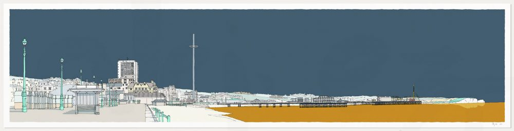 Panoramic prints. print named Hove Brighton Beach Promenade Antique Blue and Ochre by artist alej ez